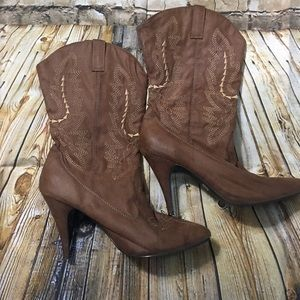 Ellie Brown Faux Suede Cowboy Boots